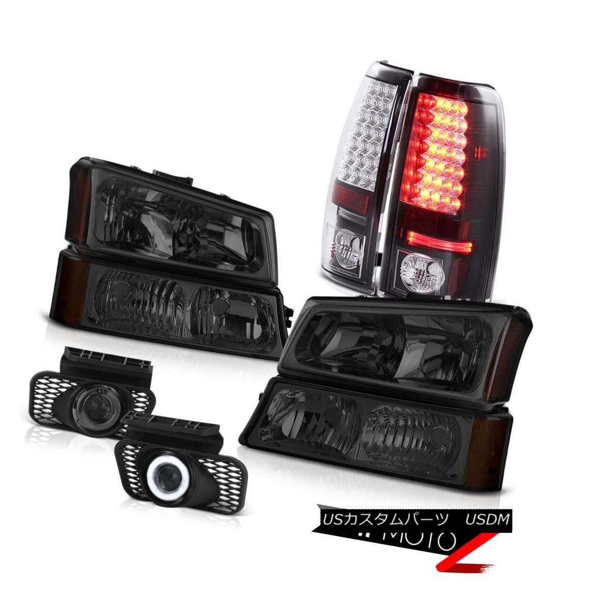 テールライト Smoke Headlights LEFT RIGHT Black LED Taillights Foglight 03-06 Chevy Silverado スモークヘッドライトLEFT RIGHTブラックテールライトフォグライト03-06 Chevy Silverado
