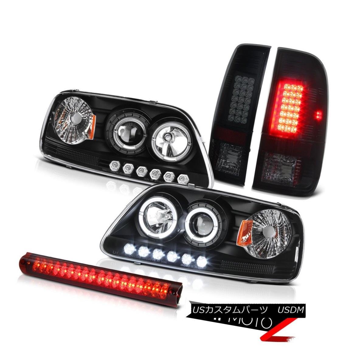 テールライト DRL LED Angel Eye Headlight Smoke Brake Lamp High Stop Light Red 97-03 Ford F150 DRL LEDエンジェルアイヘッドライトスモークブレーキランプハイストップライトレッド97-03 Ford F150