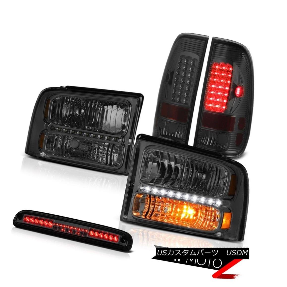 テールライト Front Crystal Headlights Smoked LED Taillamps Smoke 3rd Brake 05 06 07 Ford F550 フロントクリスタルヘッドライトスモークLEDタイルランプスモークサードブレーキ05 06 07 Ford F550