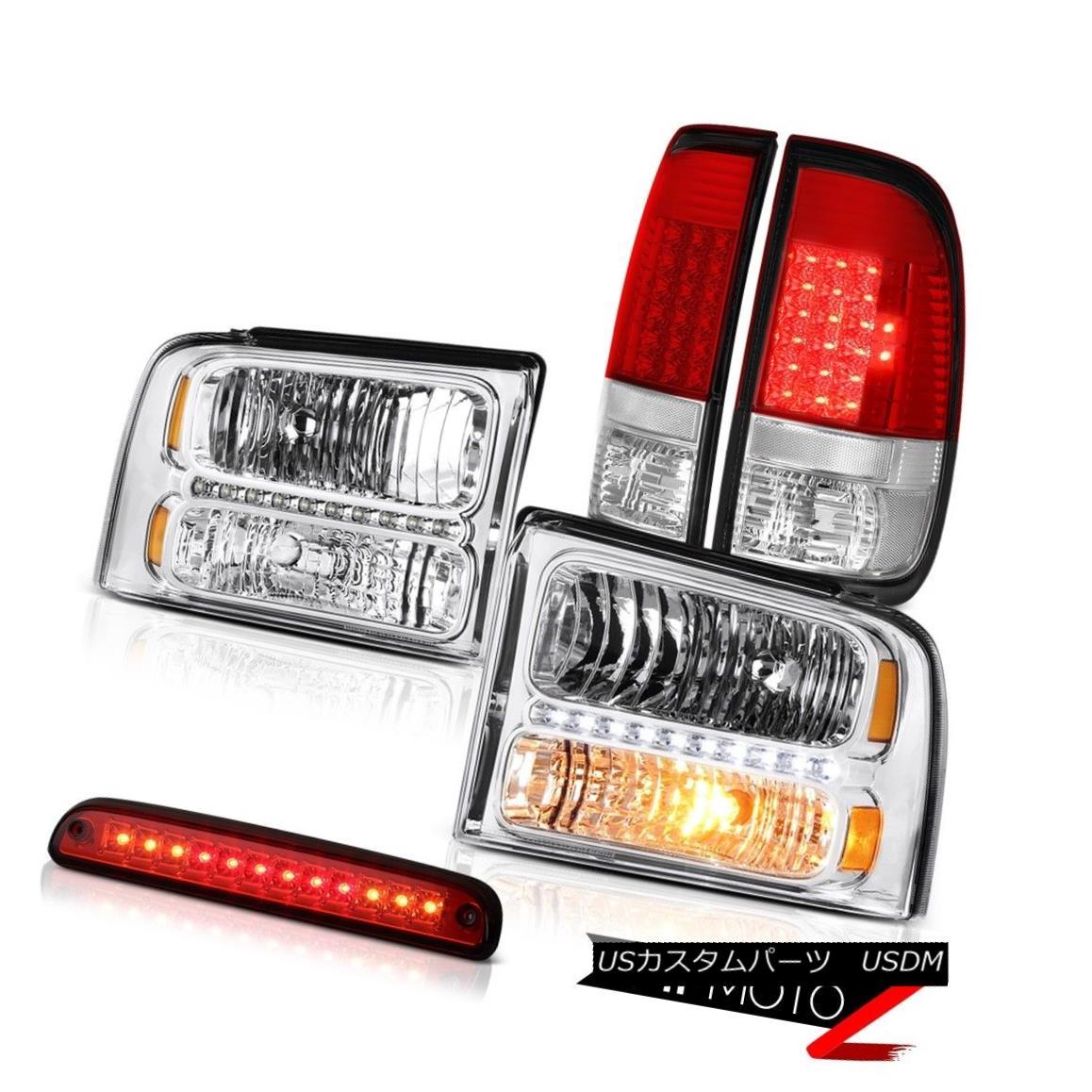 テールライト 2005-2007 F450 F550 Pair Chrome Headlights Brake Lamps Taillights Red 3rd LED 2005-2007 F450 F550ペアクロームヘッドライトブレーキランプテールライト赤3番目のLED