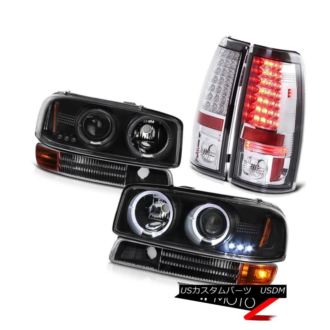 テールライト 2004-2006 GMC GMT800 Matte Black Halo LED Headlight Turn Signal Brake Tail Light 2004-2006 GMC GMT800マットブラックハローLEDヘッドライトターンシグナルブレーキテールライト