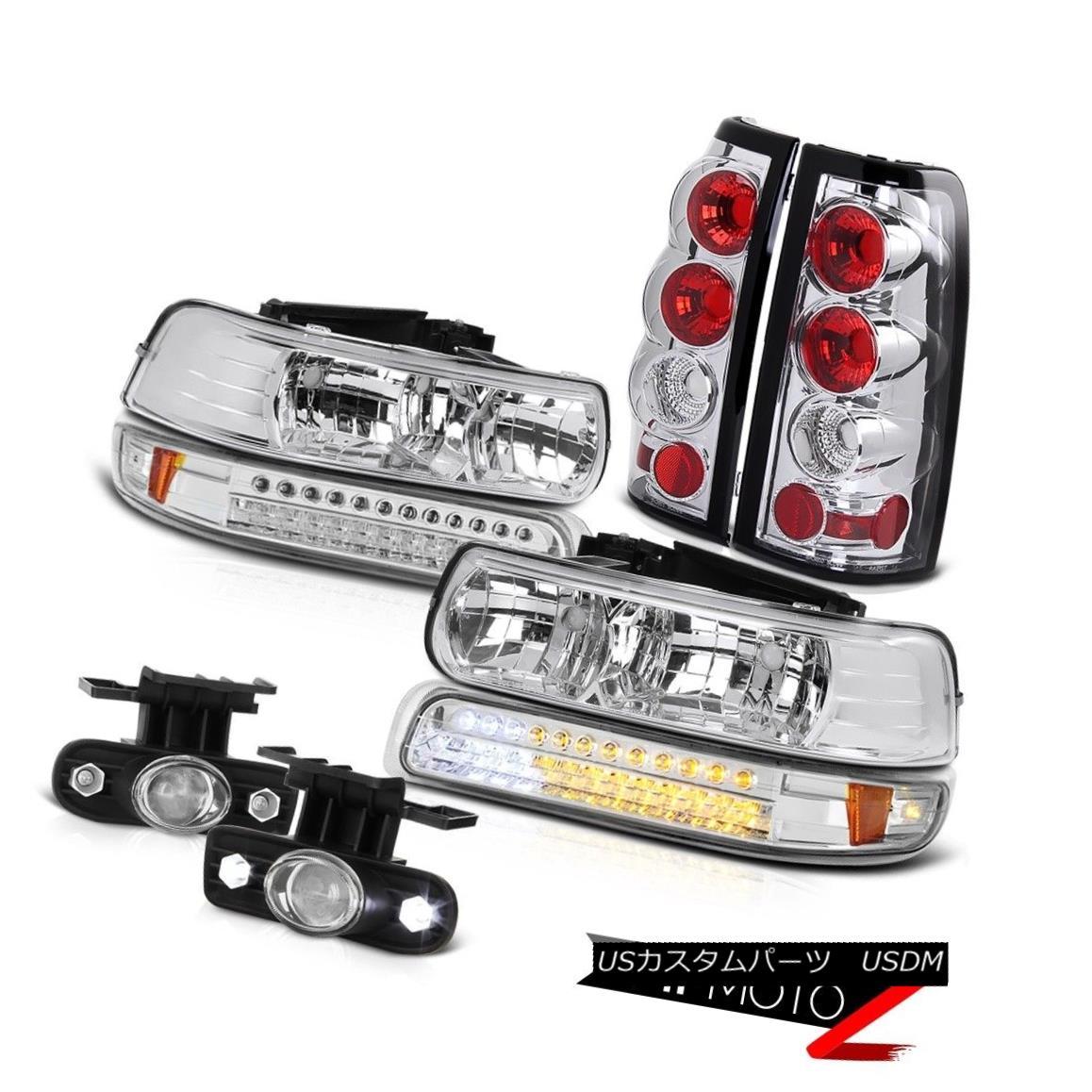 テールライト Chrome Headlamp Euro Rear Taillamps Projector Driving Fog 99-02 Silverado 2500HD クロームヘッドランプユーロリアタイヤンププロジェクタードライビングフォグ99-02 Silverado 2500HD
