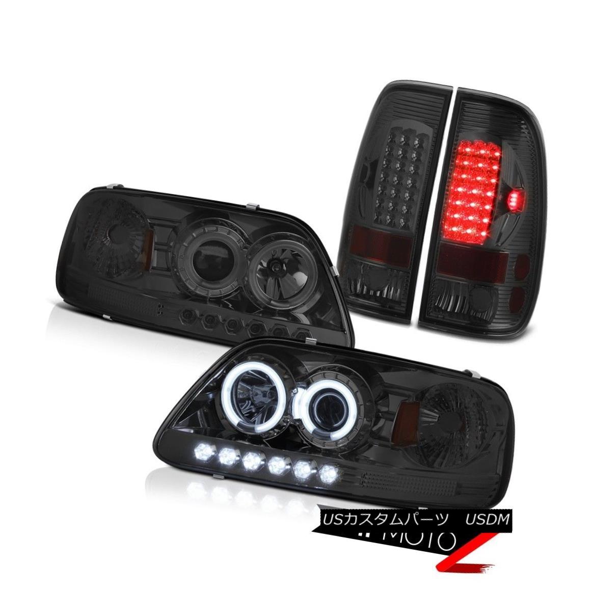 テールライト F150 XLT 1997 1998 Smoked CCFL LED Angel Eye Headlight Signal Brake Tail Lights F150 XLT 1997 1998スモークCCFL LEDエンジェルアイヘッドライト信号ブレーキテールライト