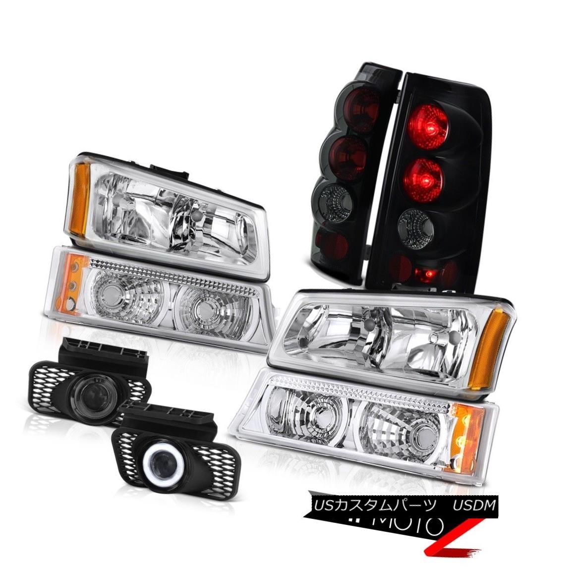 テールライト Chrome Headlight Signal Bumper Darkest Smoke Tail Light Foglight 03-06 Silverado クロームヘッドライト信号バンパー暗い煙テールライトフォグライト03-06シルバラード