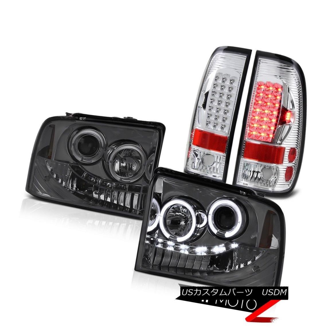 テールライト Smoke Projector Headlights Halo LED Taillamps Chrome Ford F350 Lariat 2005-2007 スモークプロジェクターヘッドライトHalo LEDトライアングルChrome Ford F350 Lariat 2005-2007
