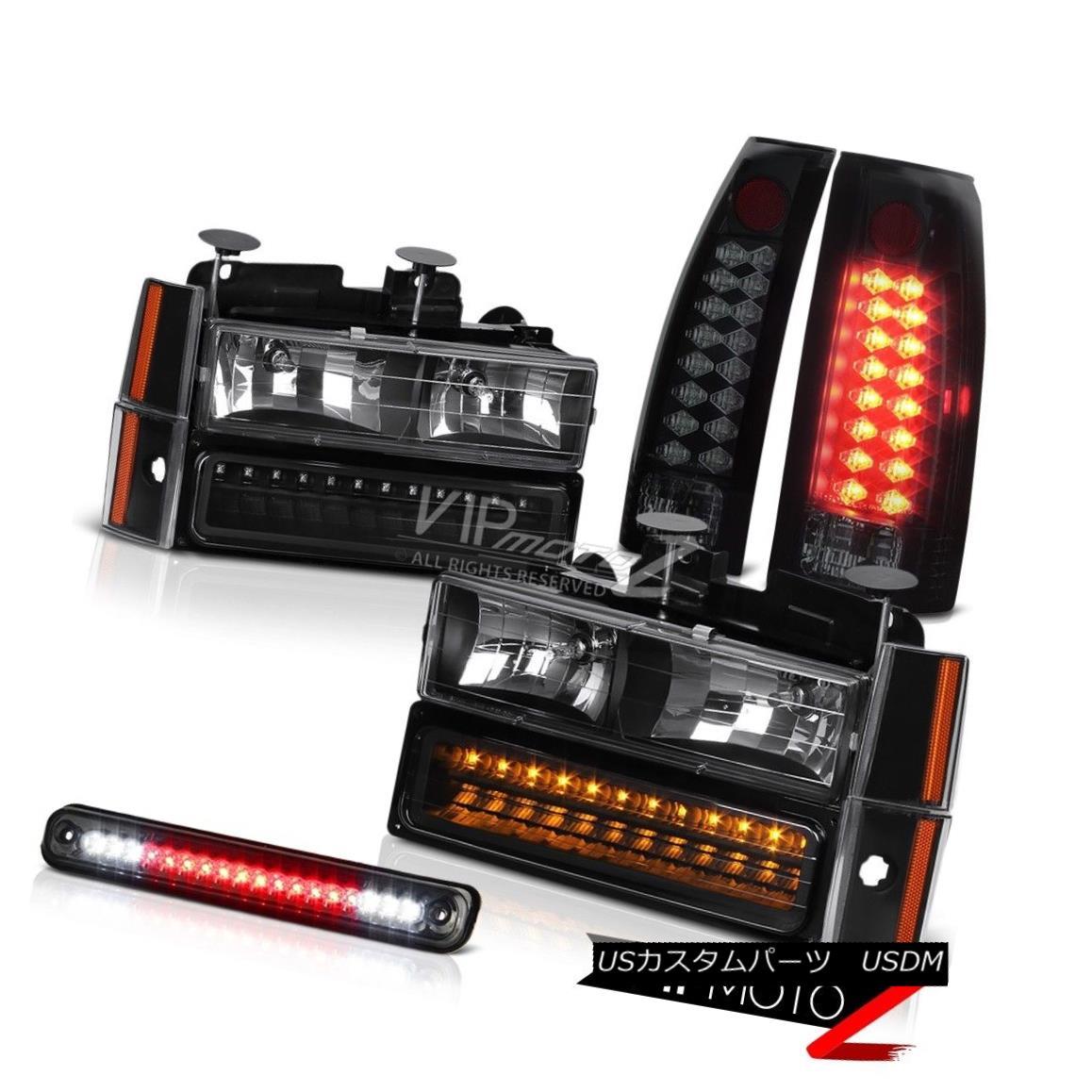 テールライト 1988-1993 Chevrolet PickUp Black LED Signal Headlights Tail Light 3RD Cab Lamp 1988-1993シボレーピックアップブラックLEDシグナルヘッドライトテールライト3RDキャブランプ