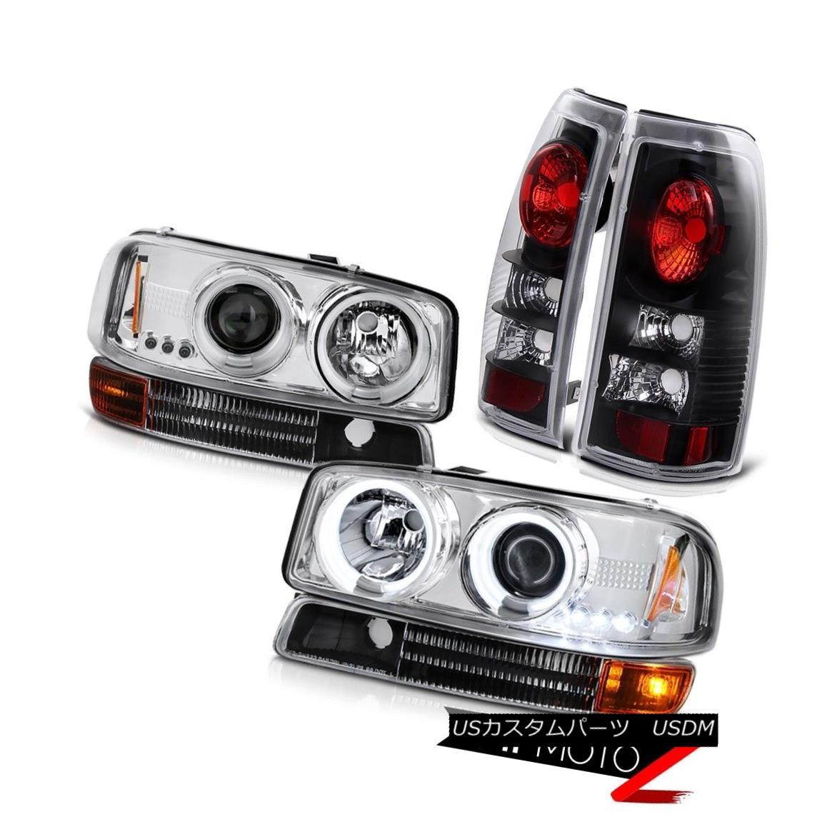 テールライト 99-03 Sierra 2500 3500 CCFL Ring Headlamp Infinity Black Parking Rear Taillight 99-03 Sierra 2500 3500 CCFLリングヘッドランプインフィニティブラックパーキングリアテールライト