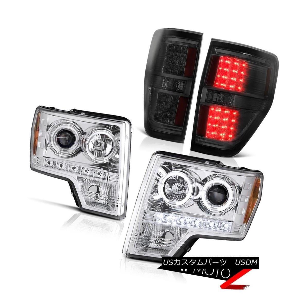 テールライト 2009-2014 F150 EcoBoost Halo Angel Eye LED Projector Headlight Smoke Tail Lights 2009-2014 F150 EcoBoostハローエンジェルアイLEDプロジェクターヘッドライト煙テールライト