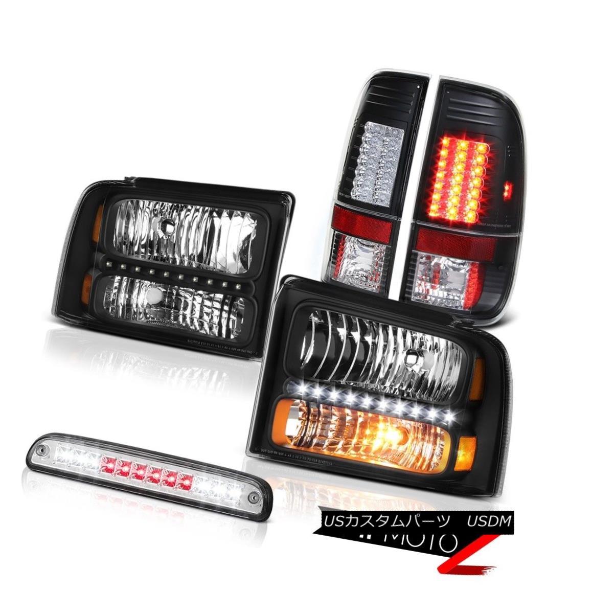 テールライト 05-07 F350 Lariat Satin Black Headlamps Bright LED Tail Lights Roof Brake Chrome 05-07 F350ラリアットサテンブラックヘッドランプ明るいLEDテールライトルーフブレーキクローム