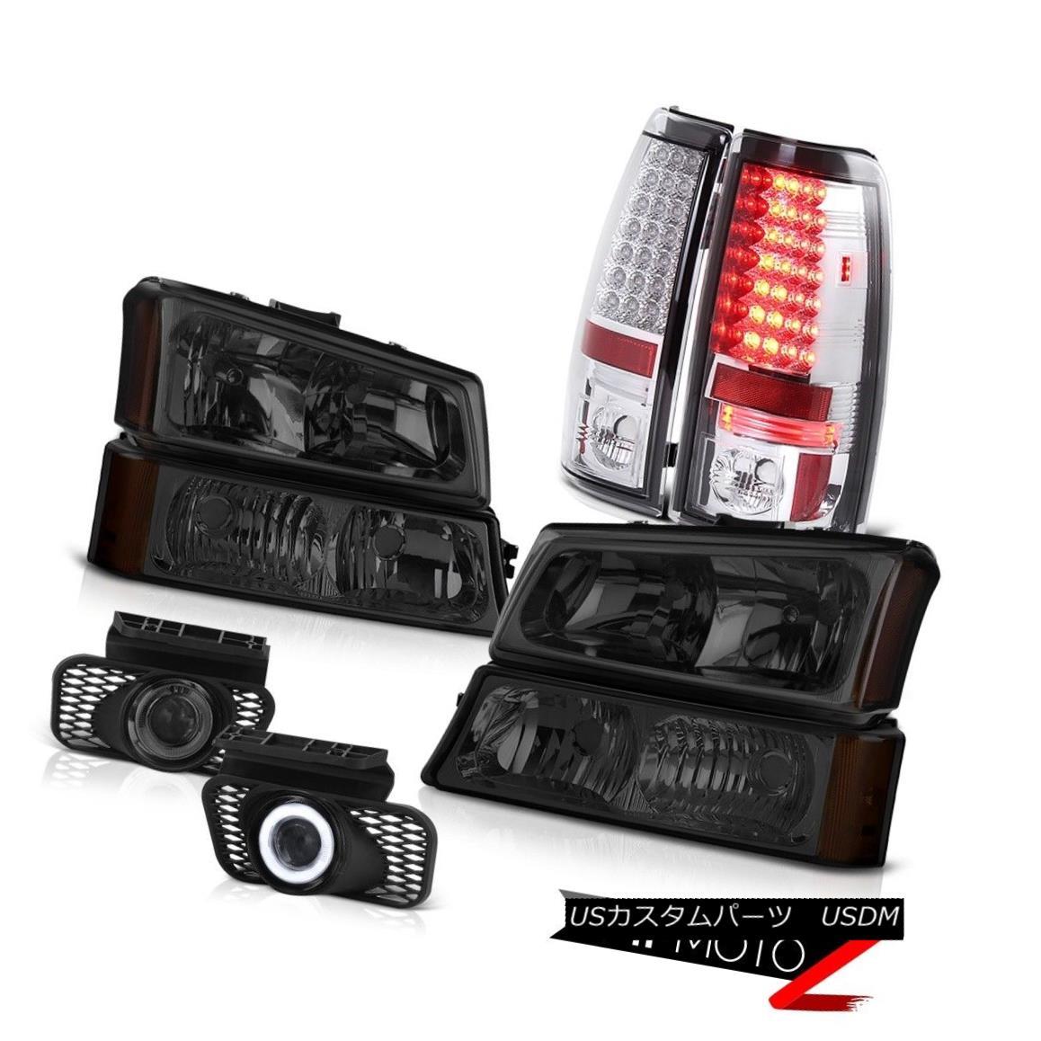 テールライト Pair Smoked Headlamps Chrome LED Tail Lights Projector Foglight 03-06 Silverado ペアスモークヘッドランプクロームLEDテールライトプロジェクターフォグライト03-06シルバラード