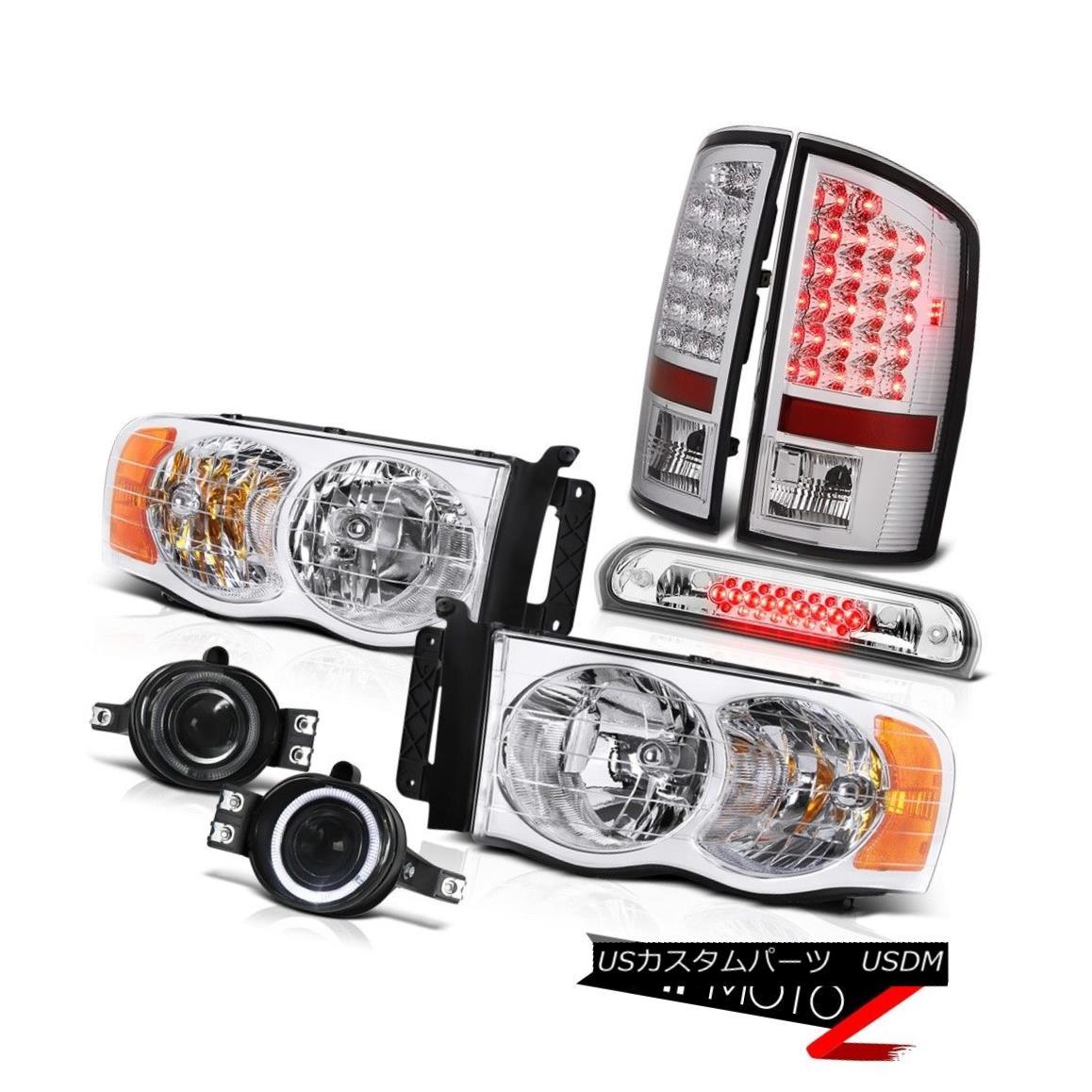 テールライト 2002-2005 Ram TurboDiesel Euro Headlights LED Tail Lights Glass Fog Roof Stop 2002 - 2005年ラムターボディーゼルユーロヘッドライトLEDテールライトガラスフォグ屋根ストップ