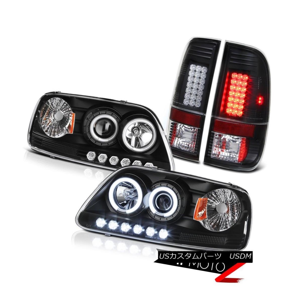 テールライト Devil Eye CCFL Halo Headlight 1999 2000 2001 F150 Hertiage Black LED Tail Lights デビルアイCCFL Haloヘッドライト1999 2000 2001 F150 Heritage Black LEDテールライト