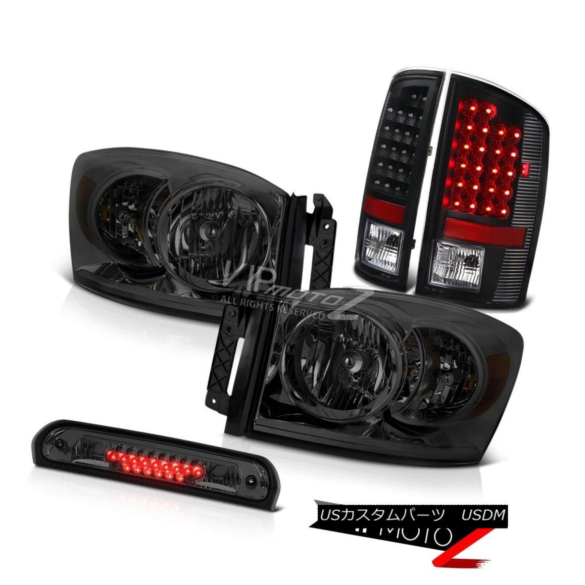 テールライト Tinted Headlights L+R Black Brake LED Tail Lights 3rd Cargo 07-08 Dodge Ram 2500 着色ヘッドライトL + RブラックブレーキLEDテールライト3rd Cargo 07-08 Dodge Ram 2500