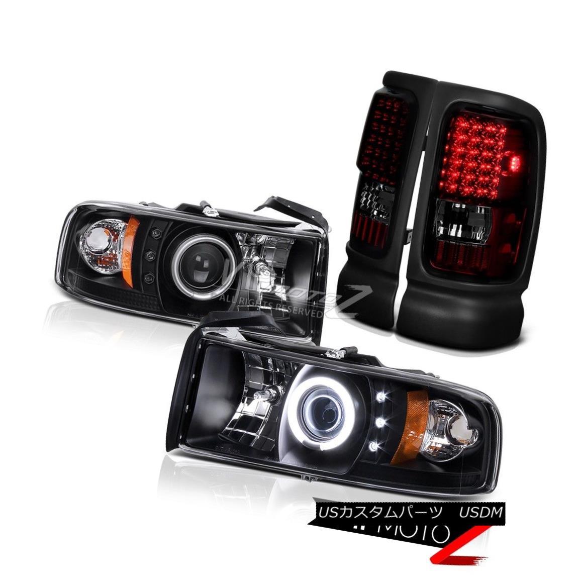 テールライト Dodge Ram 94-01 Black CCFL Halo Projector Headlight RED/SMOKE LED Tail Light Dodge Ram 94-01黒CCFL HaloプロジェクターヘッドライトRED / SMOKE LEDテールライト
