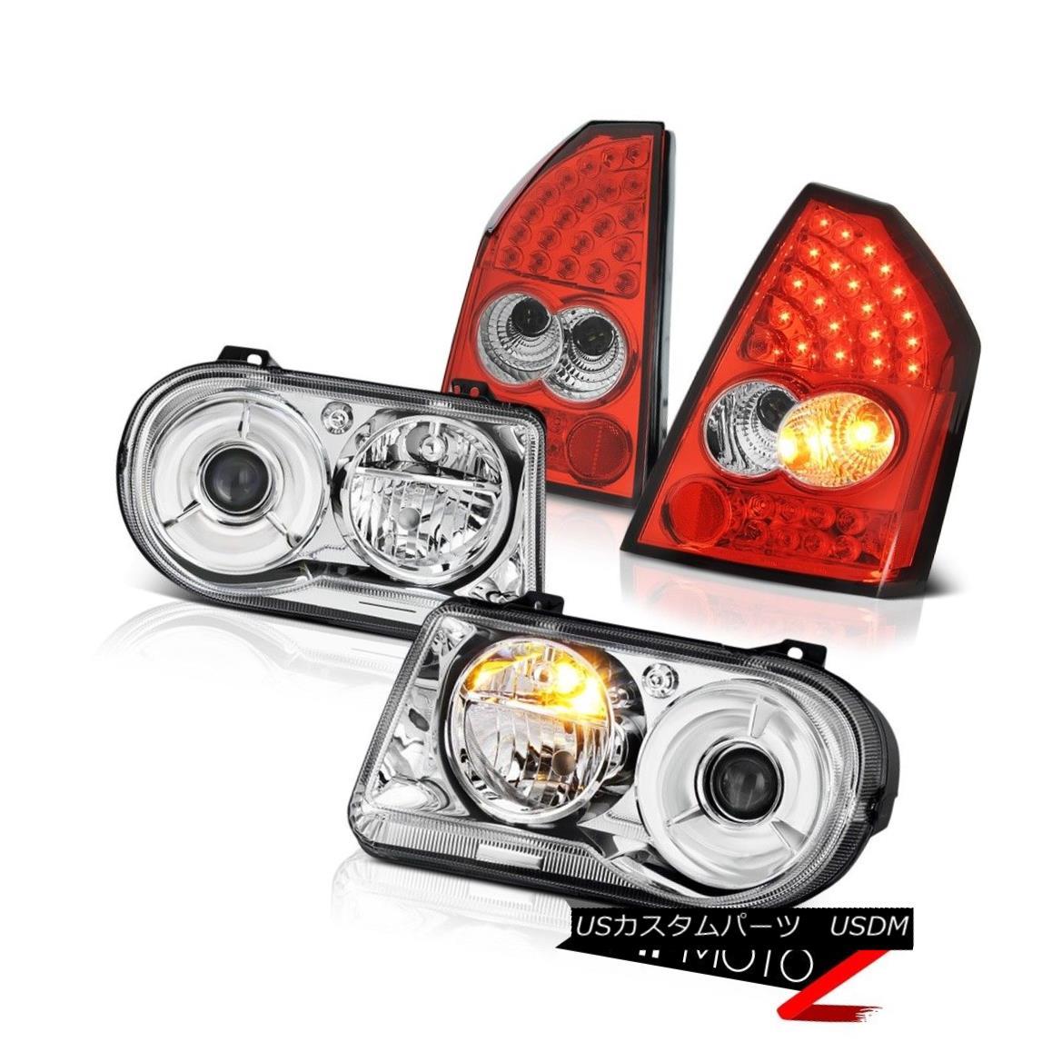 テールライト Euro Headlights Factory Style Rosso Red LED Tail Lights 2005-2007 Chrysler 300C ユーロヘッドライトファクトリースタイルロッソレッドLEDテールライト2005-2007クライスラー300C