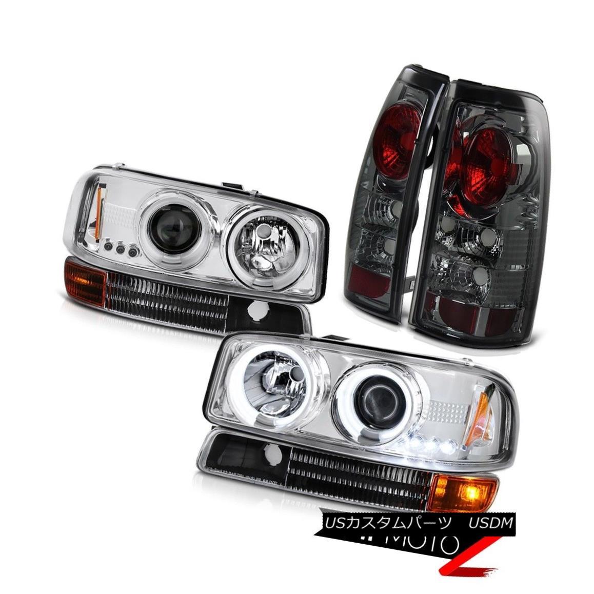 テールライト 99-03 Sierra 2500 3500 Clear CCFL Halo Headlights Parking Tint Brake Tail Lights 99-03 Sierra 2500 3500クリアCCFL Haloヘッドライトパーキングティントブレーキテールライト