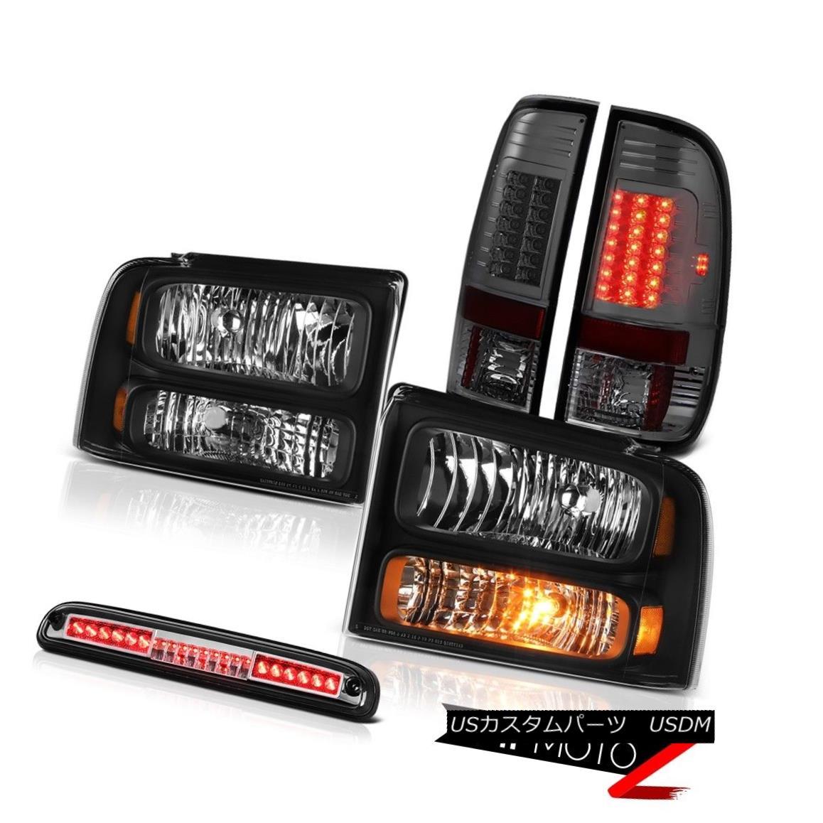 テールライト 05-07 F350 6.8L Black Headlights L.E.D Tail Lights Smoke Chrome Third Brake LED 05-07 F350 6.8LブラックヘッドライトL.E.Dテールライトスモーククロム第3ブレーキLED
