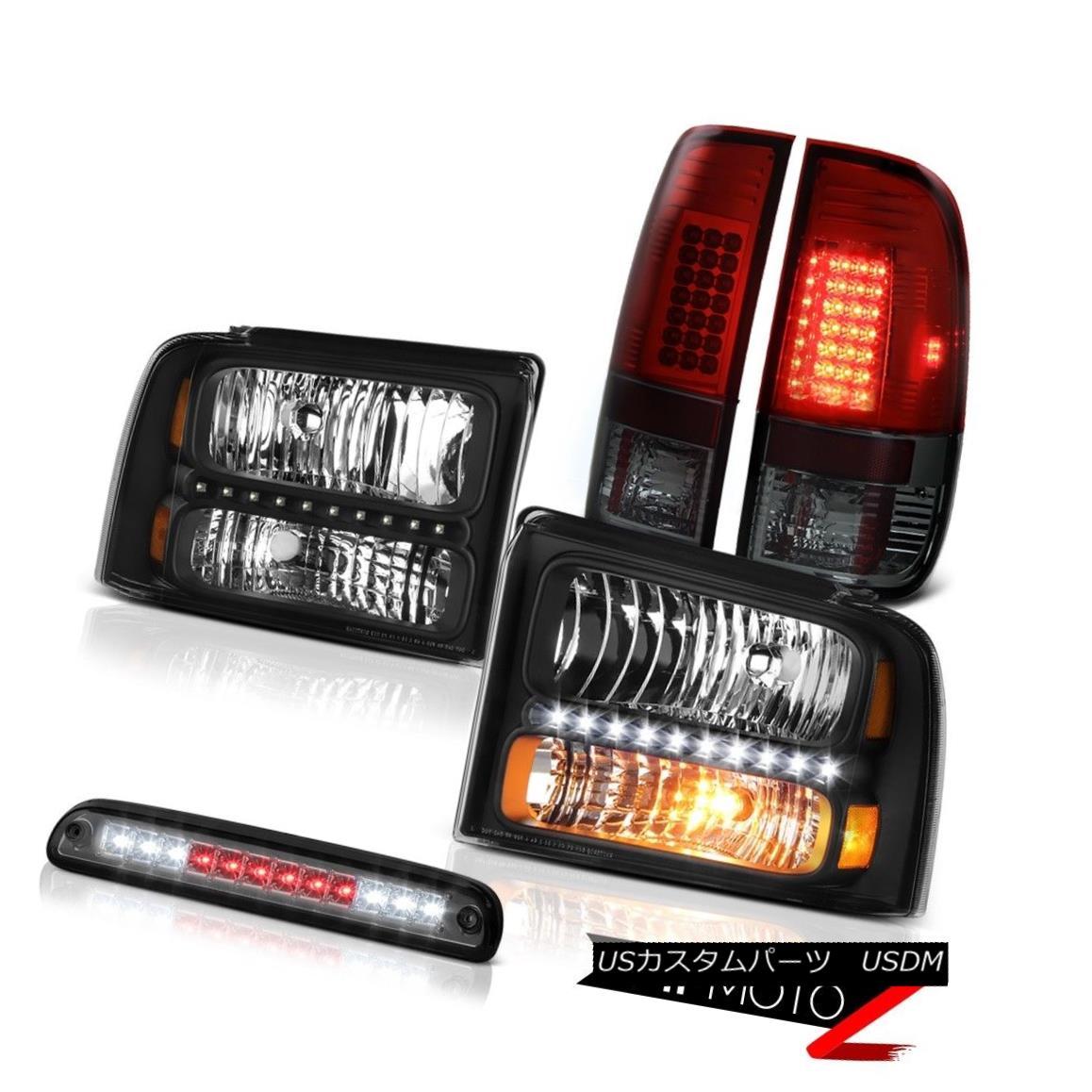 テールライト 2005-2007 F250 5.4L Matte Black Headlights Cherry Red Tail Lights 3rd Brake LED 2005-2007 F250 5.4Lマットブラックヘッドライトチェリーレッドテールライト3rdブレーキLED