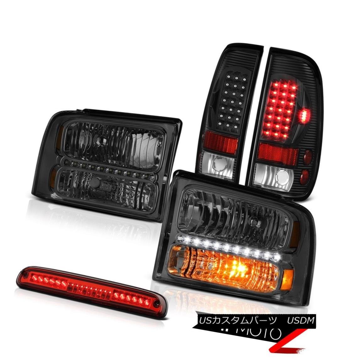 テールライト 2005-2007 Ford F250 Smoke Tinted Headlamps LED Black Taillights High Brake Cargo 2005-2007 Ford F250煙がかかったヘッドランプLEDブラック・ティアライト高ブレーキ・カーゴ