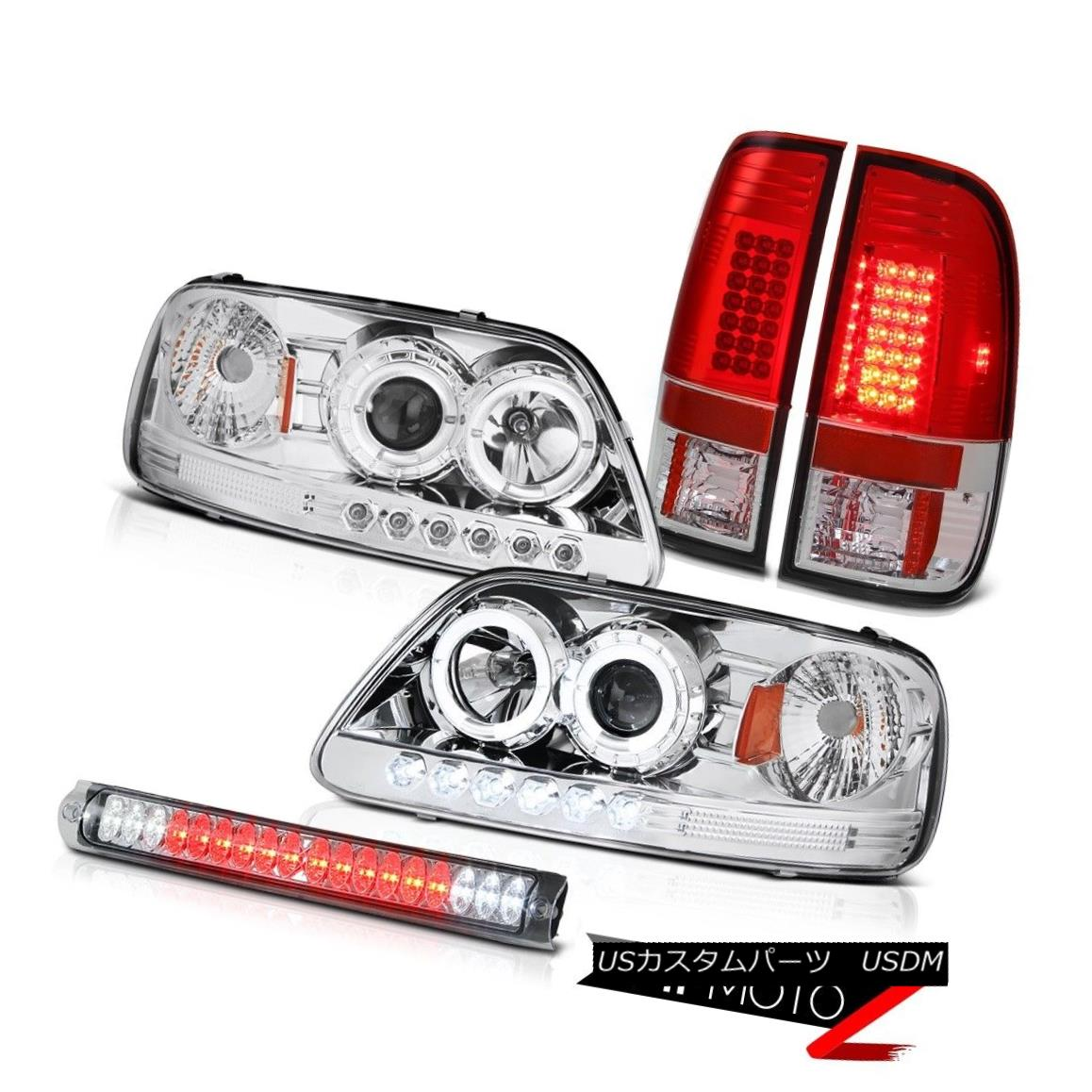 テールライト Chrome LED Angel Eye Headlights Tail Lights Third Brake Lamp Ford F150 1997-2003 クロームLEDエンジェルアイヘッドライトテールライト第3ブレーキランプフォードF150 1997-2003