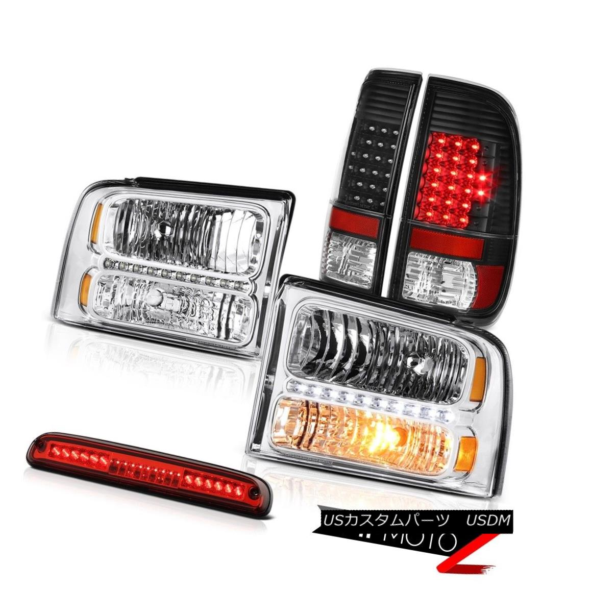 テールライト 2005 2006 2007 F250 Outlaw Chrome Headlights LED Black Taillights 3rd Brake Red 2005 2006 2007 F250アウトロークロームヘッドライトLEDブラックテールライト第3ブレーキレッド