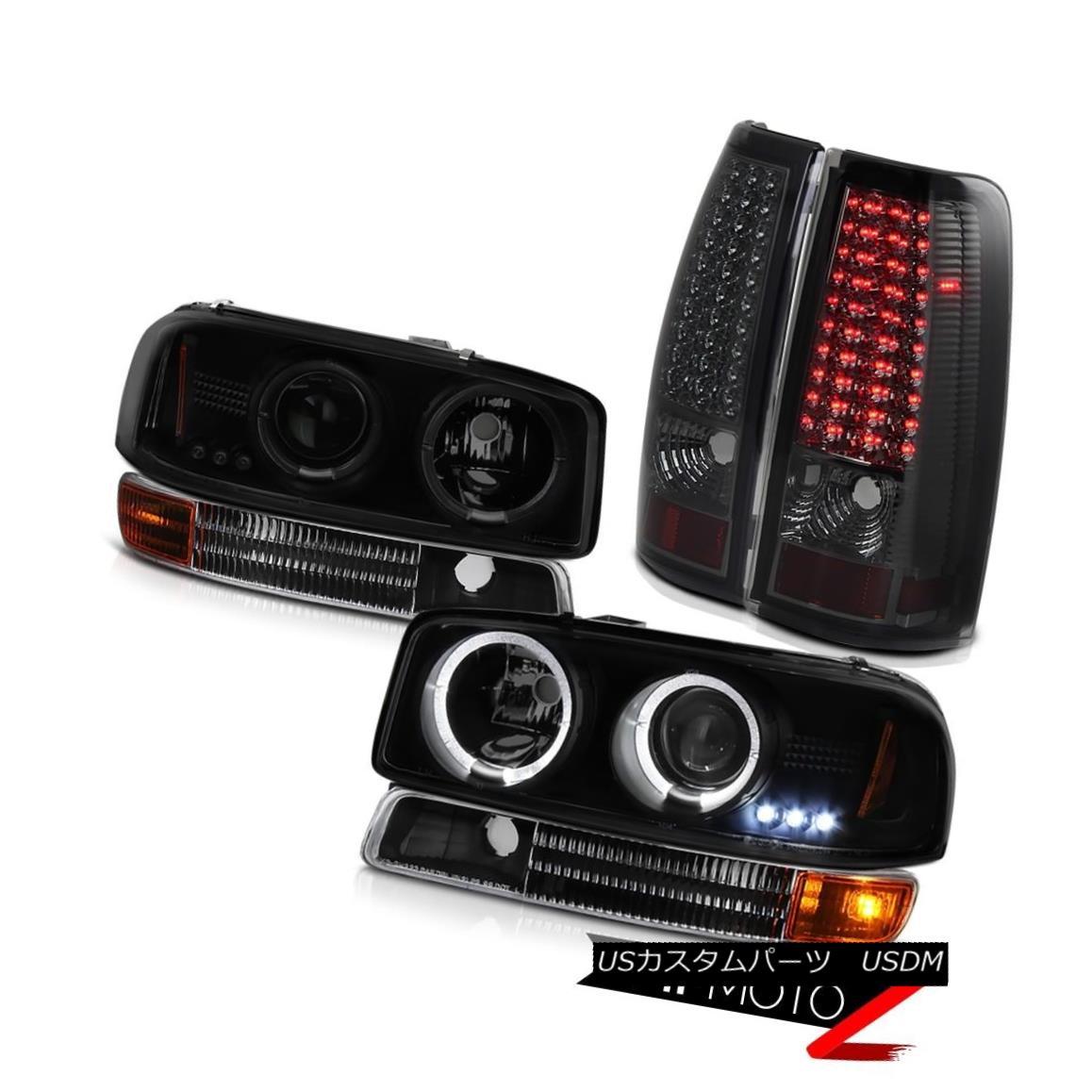 テールライト 99-03 Sierra WT Halo SINSTER BLACK Headlights Matte Parking Signal Tail Lights 99-03 Sierra with Halo SINISTER BLACKヘッドライトマットパーキング信号テールライト