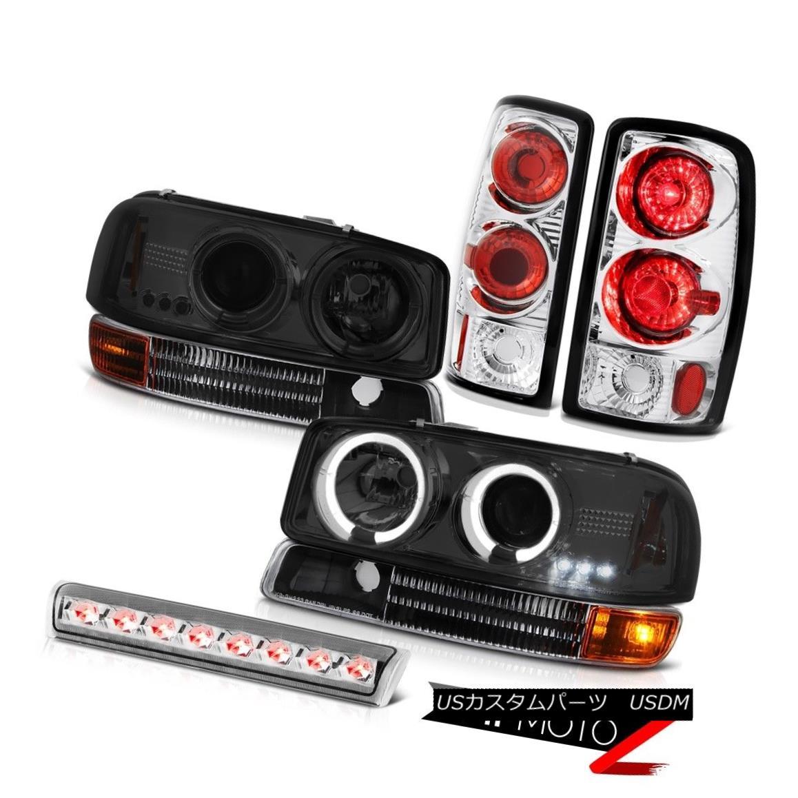 テールライト 00-06 Yukon XL Vortec Headlights Projector Angel Eye Black Tail Lights High Stop 00-06ユーコンXLボルテックヘッドライトプロジェクターエンジェルアイブラックテールライトハイストップ