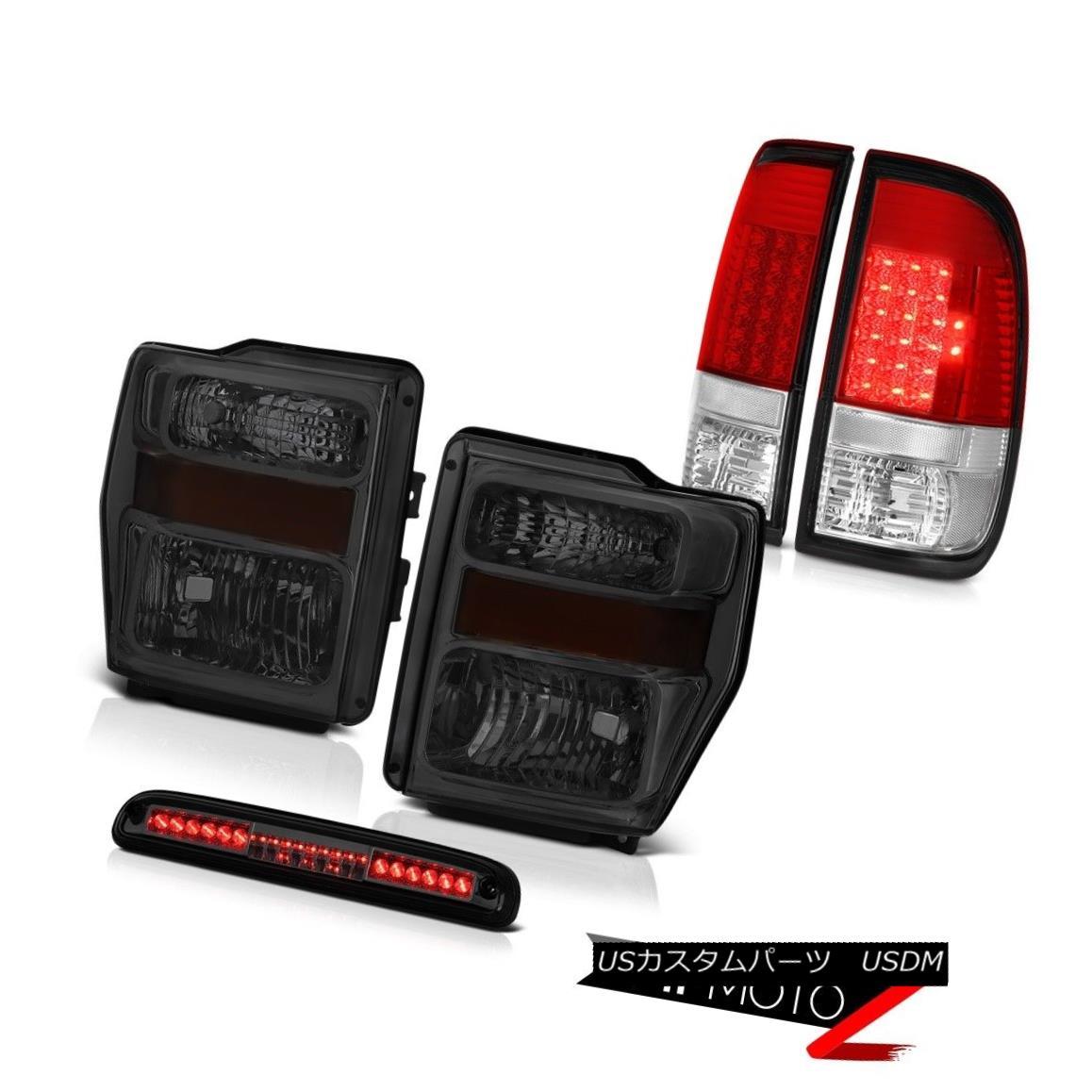 テールライト 08 09 10 F250 King Ranch Smoke Headlights LEFT RIGHT Red LED Taillights High 3rd 08 09 10 F250キングランチ煙ヘッドライトLEFT RIGHT赤色LED灯台ハイ3