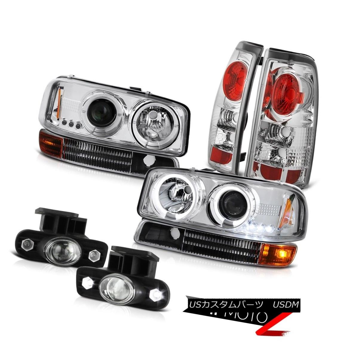 テールライト 2X Angel Eye Projector Headlight Black Bumper Rear Tail Lamp Fog 99-03 Sierra SL 2Xエンジェルアイプロジェクターヘッドライトブラックバンパーリアテールランプフォグ99-03 Sierra SL