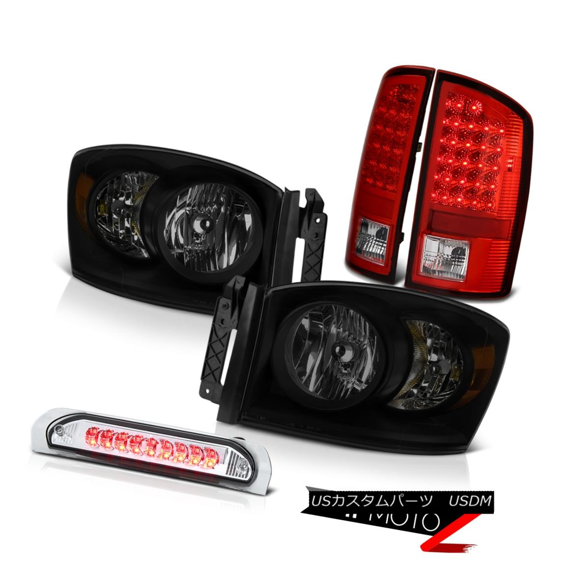 テールライト 2007-2009 Dodge Ram 3500 4.7L Smoke Tinted Headlights 3RD Brake Light Taillights 2007-2009 Dodge Ram 3500 4.7L煙がかかったヘッドライト3RDブレーキライトテールライト