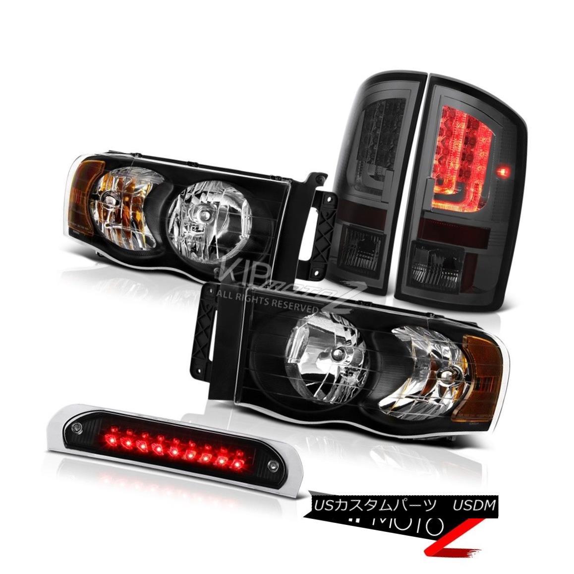 テールライト 2002-2005 Dodge Ram 1500 5.7L Smokey Tail Lamps Black Third Brake Lamp Headlamps 2002-2005ダッジラム1500 5.7Lスモーキーテールランプブラック第3ブレーキランプヘッドランプ