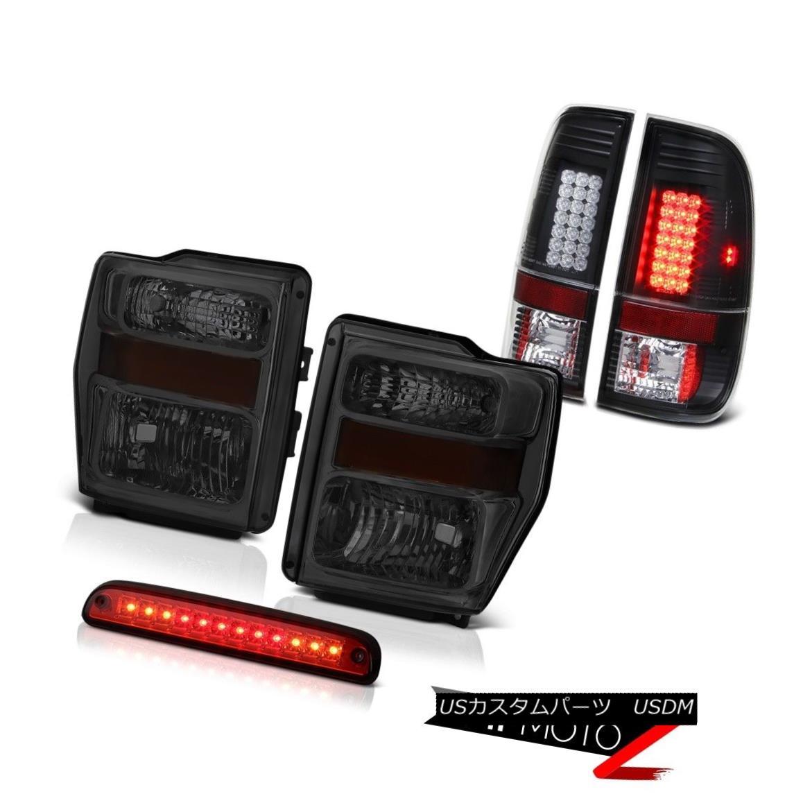 テールライト Tinted Headlights Wine Red Third Brake LED Bulbs Tail Lights 08 09 10 F250 6.8L 着色されたヘッドライトワインレッド第3ブレーキLED電球テールライト08 09 10 F250 6.8L
