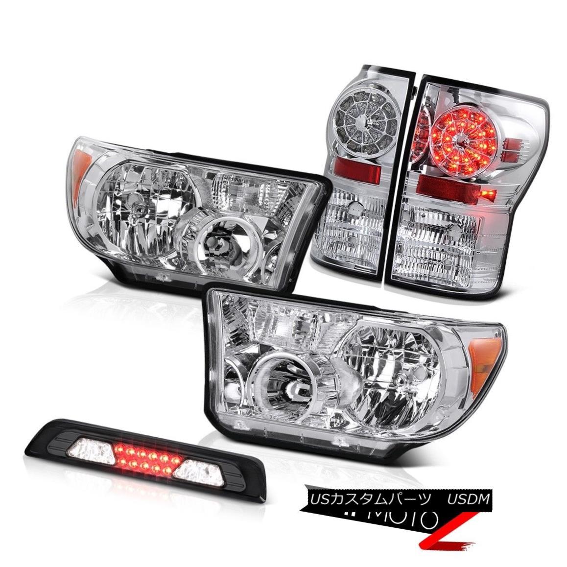 テールライト 07-13 Toyota Tundra SR5 Chrome Headlamps High Stop Lamp Parking Brake Lights LED 07-13トヨタトンドラSR5クロームヘッドランプハイストップランプパーキングブレーキライトLED