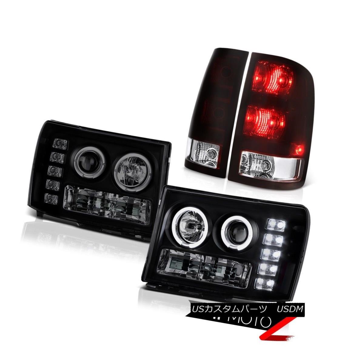 テールライト 2008-2014 Sierra 2500 SLE Burgundy Red Tail Brake Lamps Headlights LED Dual Halo 2008-2014 Sierra 2500 SLE BurgundyレッドテールブレーキランプヘッドライトLEDデュアルヘイロー