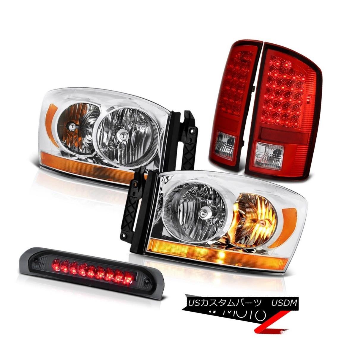 テールライト 07-08 Dodge Ram 1500 Ws Chrome Headlights Smoked Roof Brake Light Red Tail Lamps 07-08ダッジラム1500 Wsクロームヘッドライトスモークルーフブレーキライトレッドテールランプ