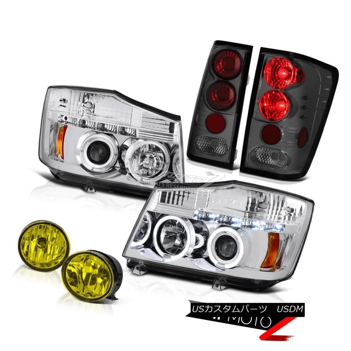 テールライト For 2004-2015 Titan Pro-4X Chrome Angel Eye Headlight Brake Tail Lamp Yellow Fog 2004年?2015年Titan Pro-4Xクロームエンジェルアイヘッドライトブレーキテールランプイエローフォグ