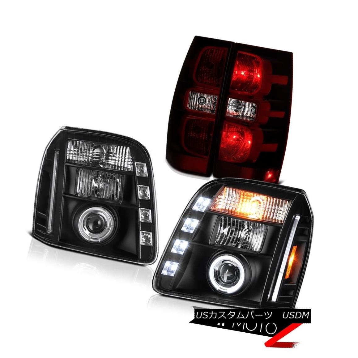 テールライト 2007-2014 GMC Yukon SLE Smokey Red Tail Brake Lamps Headlamps Halo Ring Assembly 2007-2014 GMC Yukon SLE Smokeyレッドテールブレーキランプヘッドランプハローリングアセンブリ