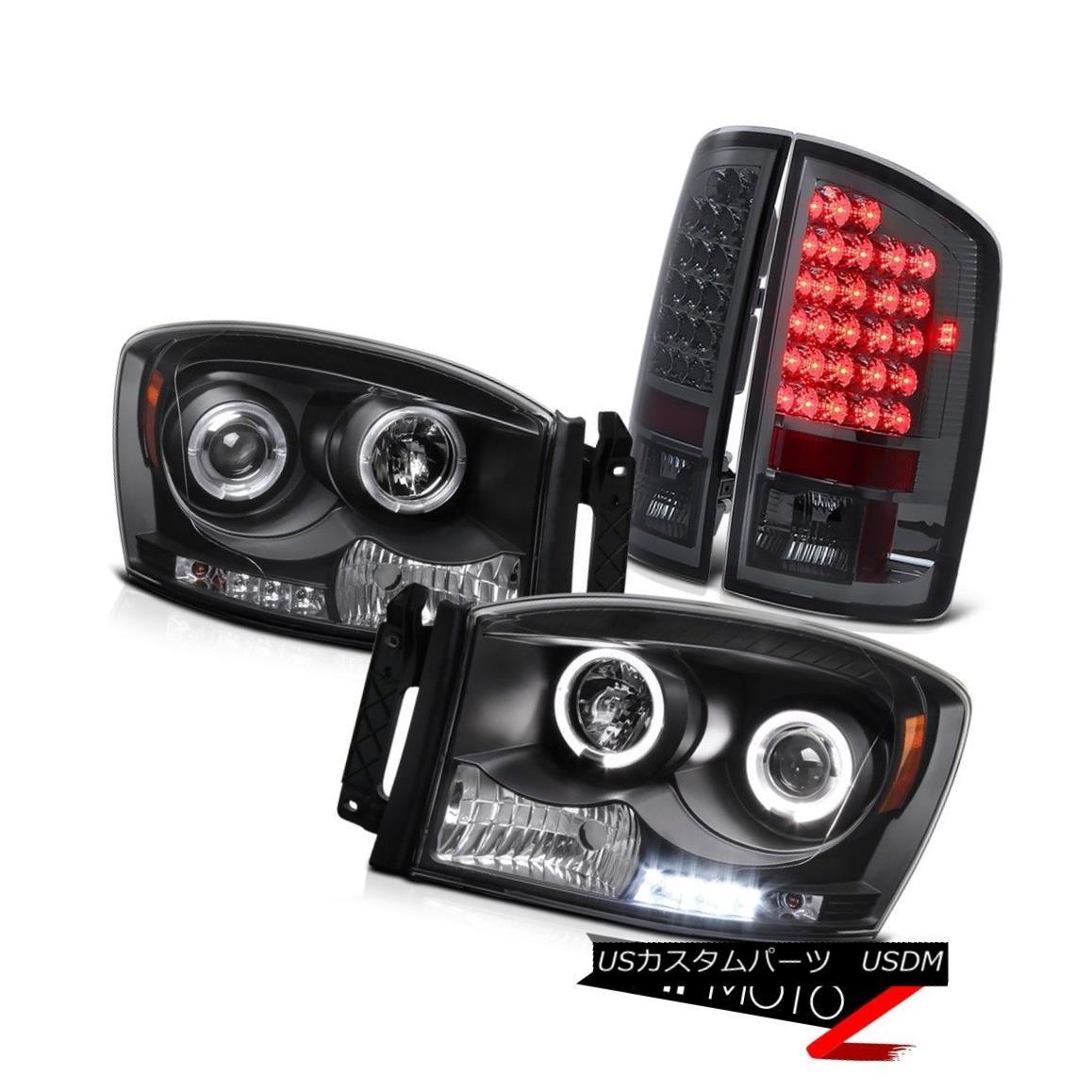 テールライト 2006 Dodge RAM Pickup Black HaLo Projector Headlight+SMOKE/RED LED Tail Lights 2006ダッジRAMピックアップブラックハロープロジェクターヘッドライト+ SMOK E / RED LEDテールライト