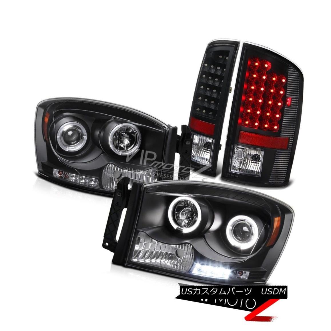 テールライト 07-08 Dodge RAM Left+Right Angel Eye Projector Headlight+Black LED Taillamp 07-08ダッジRAM左+右エンジェルアイプロジェクターヘッドライト+ブラック k LEDテールランプ