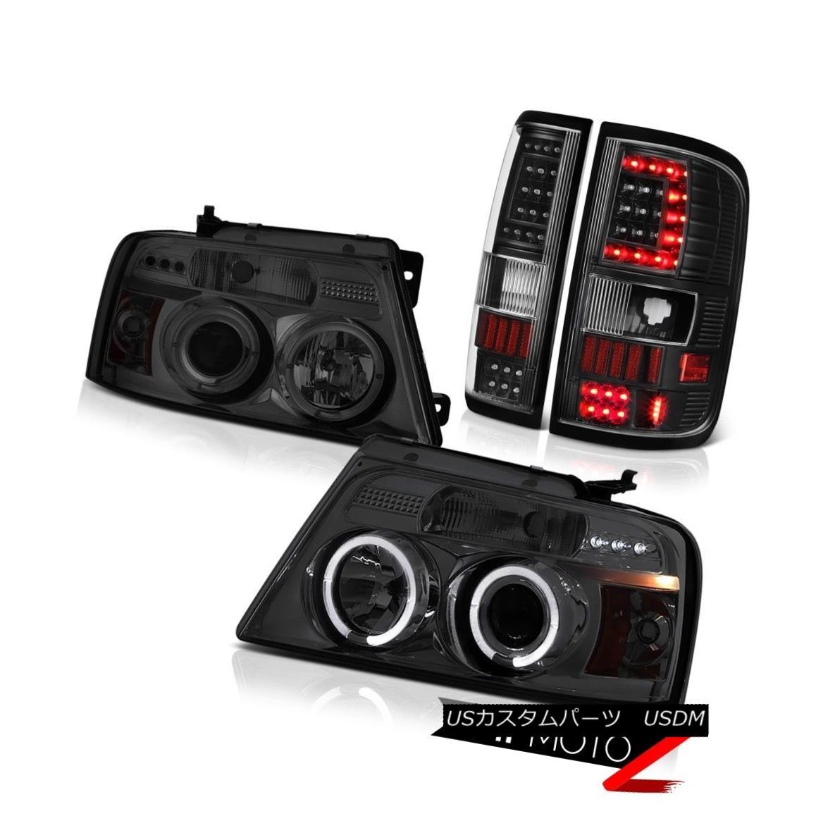 テールライト 2004-2008 Ford F150 F-150 Black Led Tail Light Graphite Smoke Custom Head LH+RH 2004-2008フォードF150 F-150ブラックLedテールライトグラファイトスモークカスタムヘッドLH + RH