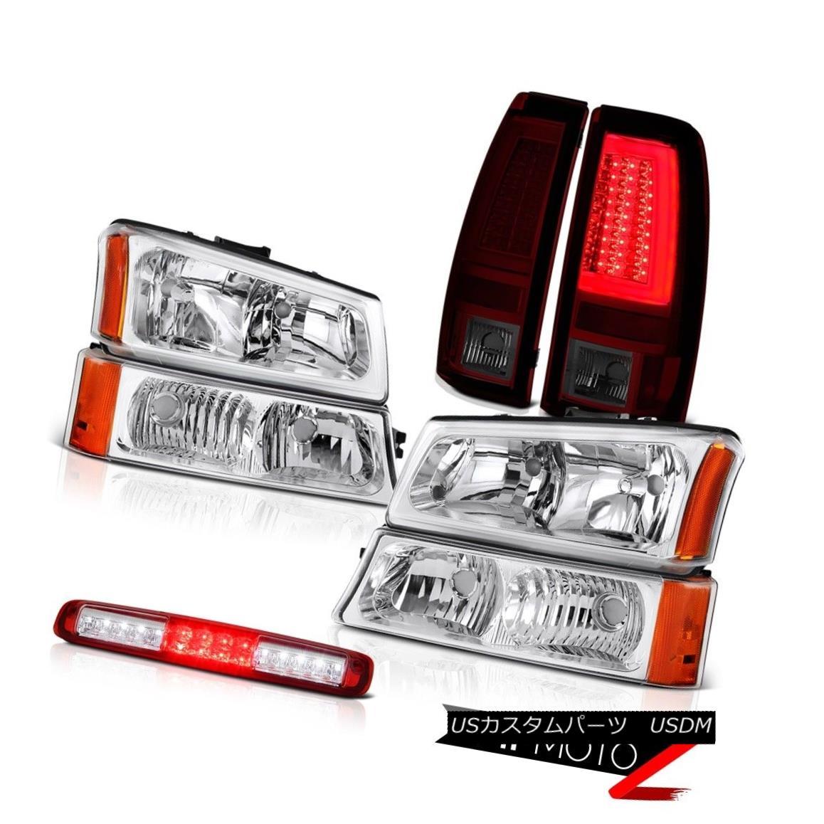 テールライト 2003-2006 Silverado 2500Hd Burgundy Red Taillamps Headlamps 3RD Brake Light LED 2003-2006 Silverado 2500Hdブルゴーニュレッドタイルランプヘッドランプ3RDブレーキライトLED