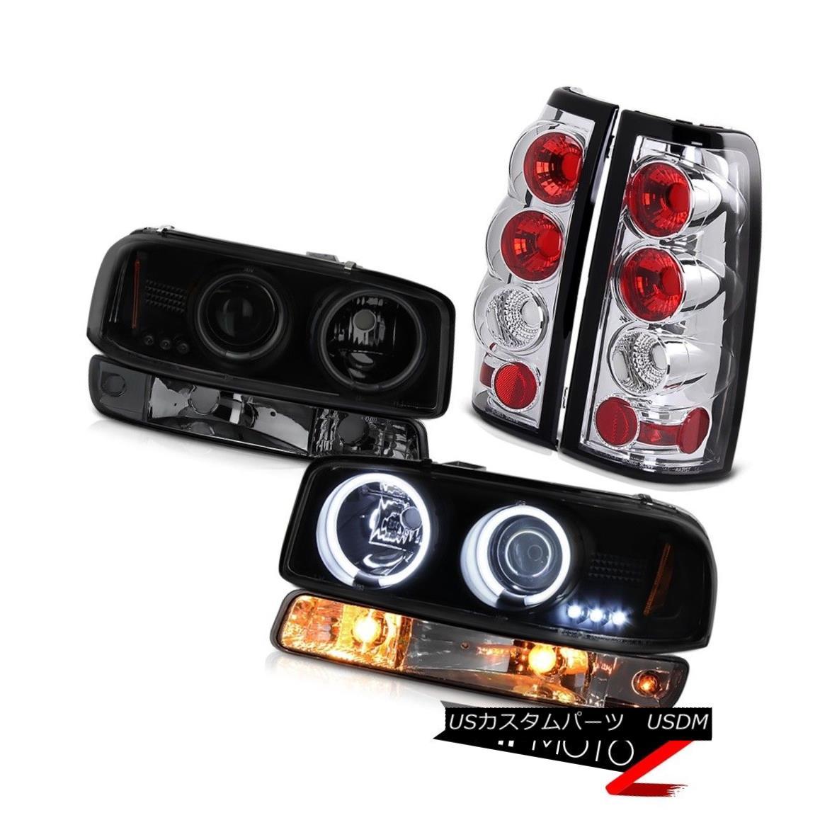 テールライト 99-02 Sierra C3 Chrome taillamps smokey bumper lamp dark tinted ccfl headlamps 99-02シエラC3クロームテールランプスモーバンパーランプダークティントccflヘッドランプ