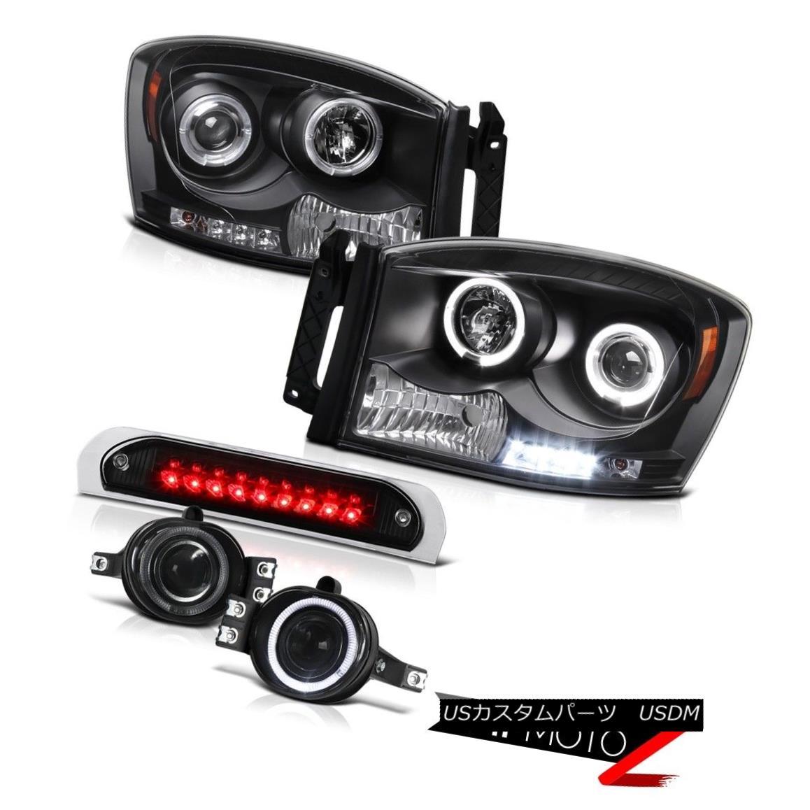 テールライト Black Halo LED Headlights Projector Foglamps Cargo Cab Lamp 07 08 Dodge Ram 3500 ブラックハローLEDヘッドライトプロジェクターフォグランプ貨物室ランプ07 08 Dodge Ram 3500