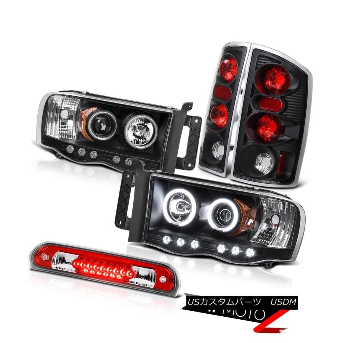 テールライト Angel Eye CCFL Headlamps Signal Tail Lights Black High Stop LED Red 02-05 Ram エンジェルアイCCFLヘッドランプ信号テールライトブラックハイストップLEDレッド02-05 Ram
