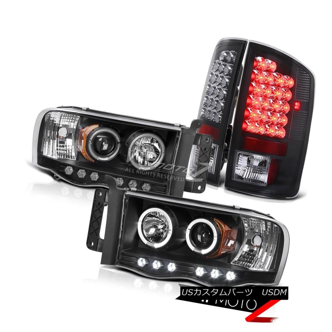 テールライト Dodge 2002-2005 RAM 1500 HaLo Projector Black L+R Headlight+LED Tail Light Lamp Dodge 2002-2005 RAM 1500 HaLoプロジェクターブラックL + Rヘッドライト+ LEDテールライトランプ