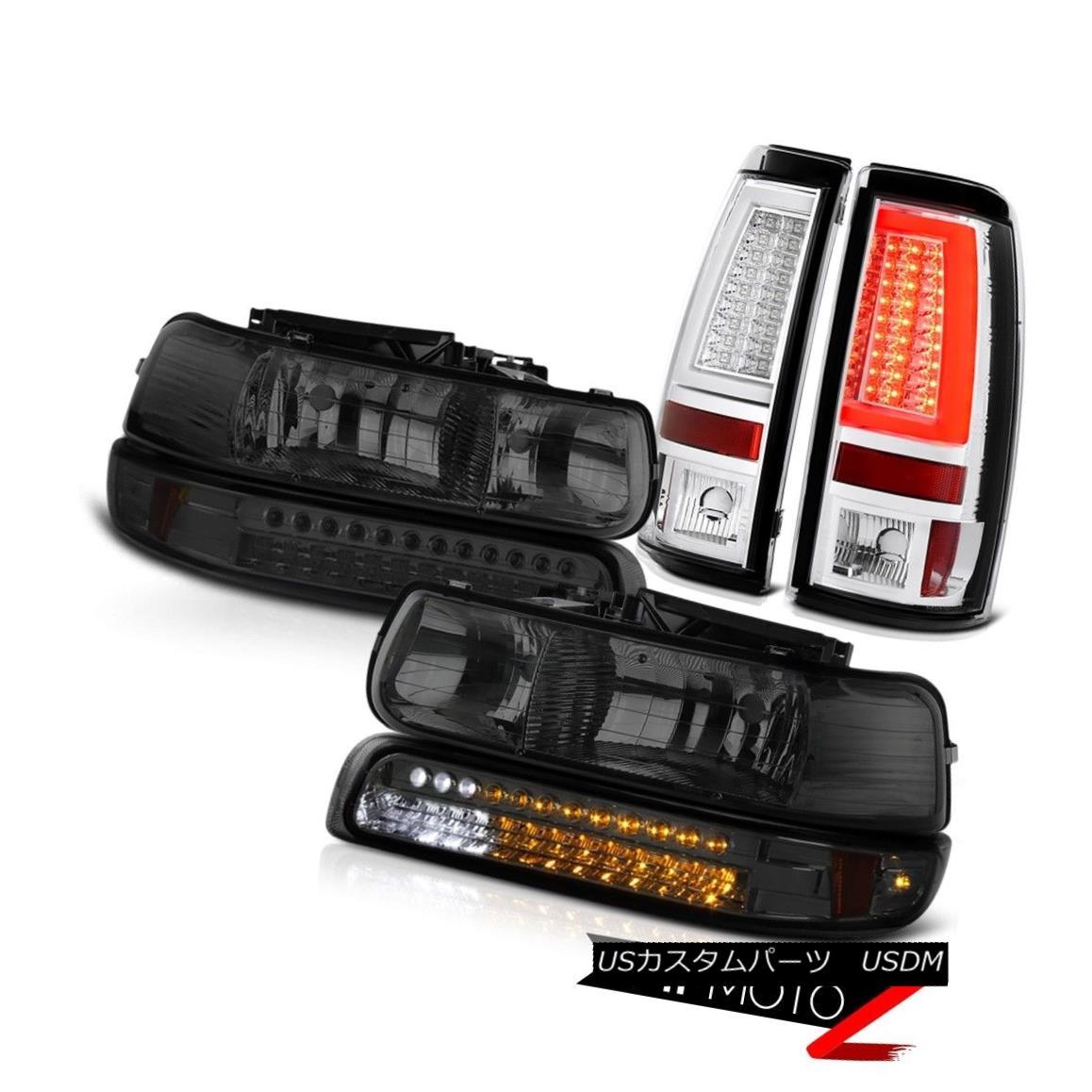 テールライト 99-02 Silverado LS Euro Clear Tail Lights Headlights Turn Signal Tron Tube LED 99-02 Silverado LSユーロクリアテールライトヘッドライトターンシグナルトロンチューブLED