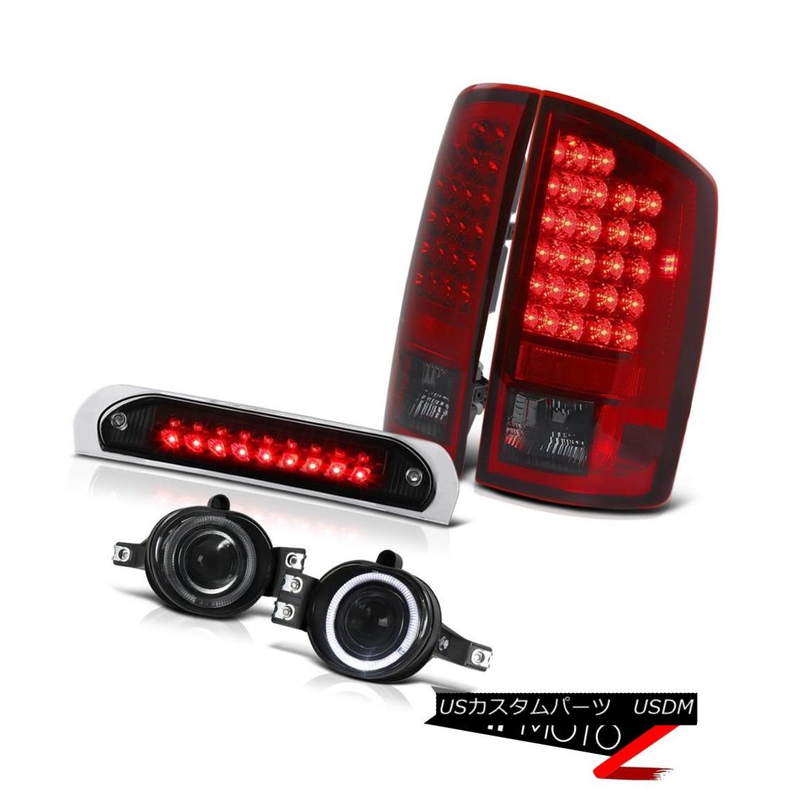 テールライト Cherry Red LED Tail Lights Glass Projector Halo Foglights Cargo Cab 07 08 Ram ST チェリーレッドLEDテールライトガラスプロジェクターHalo Foglights Cargo Cab 07 08 Ram ST