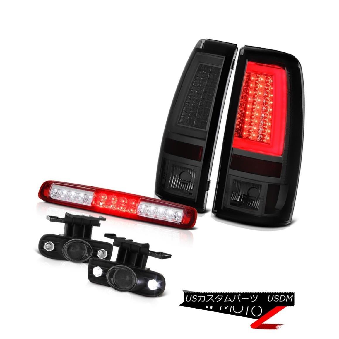 テールライト 99-02 Silverado 6.0L Graphite Smoke Tail Lamps Red High Stop Light Foglights LED 99-02 Silverado 6.0Lグラファイト煙テールランプレッドハイストップライトFoglights LED