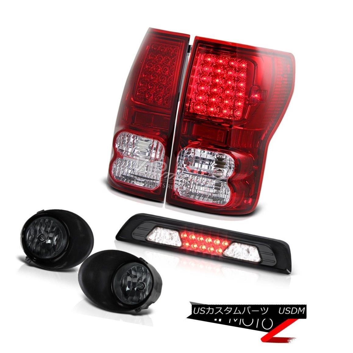 テールライト 07-13 Toyota Tundra SR5 Dark Smoke Fog Lights Third Brake Lamp Red Tail LED SMD 07-13トヨタツンドラSR5ダークスモークフォグライト第3ブレーキランプレッドテールLED SMD