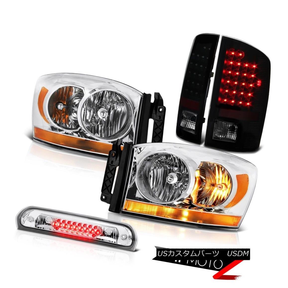 テールライト 2006 Ram 5.9L Clear Chrome Headlights Roof Cab Lamp Smoke Tinted Taillamps LED 2006 Ram 5.9Lクリアクロームヘッドライトルーフキャブランプ煙タイテンプLED